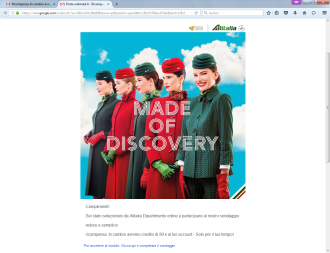 Screenshot mail phishing Alitalia