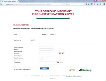Screenshot richiesta dati carta di credito